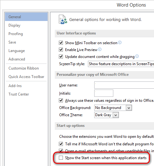 Selecting Normal Template By Default On Microsoft Word 2013