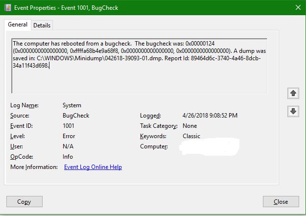Random shutdown due to bucheck - Microsoft Community