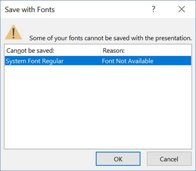 Error message for font that doesn't exist in my Powerpoint