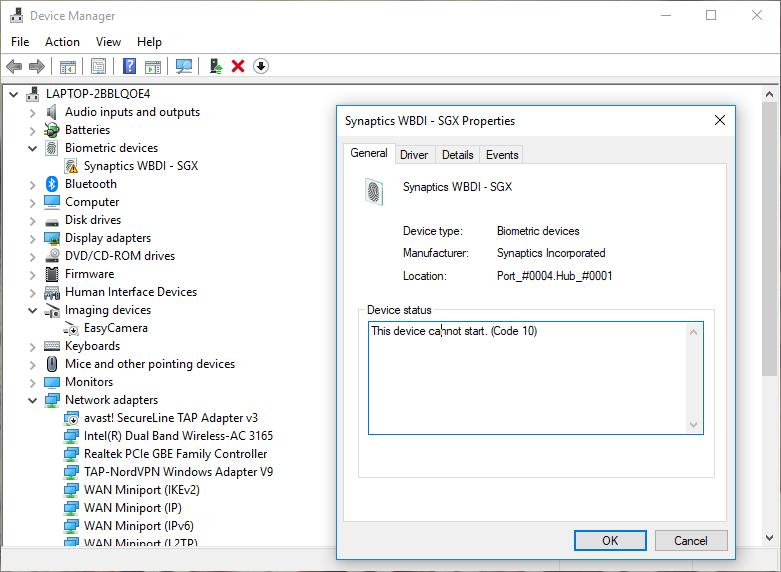 Synaptics WBDI cannot start - Microsoft Community