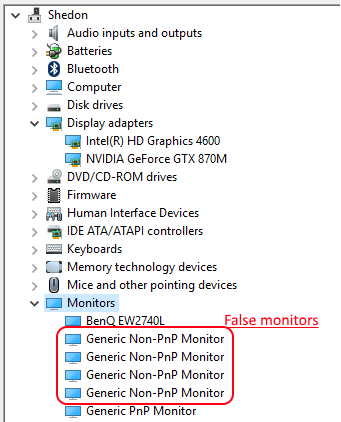 Windows 10 detects 4 non existent monitors