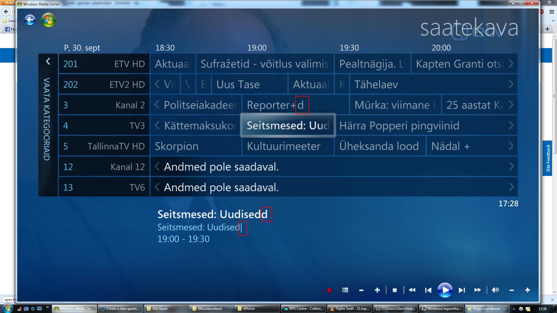 Windows 7 media center epg not updating