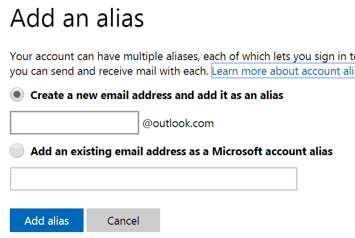 how to create a second email address in outlook