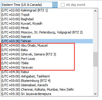 United Arab Emirates Time Zone Not Showing As An Option When