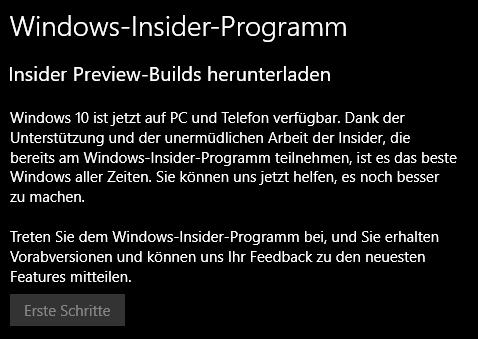 Windows Insider Programm gibt keine Updates