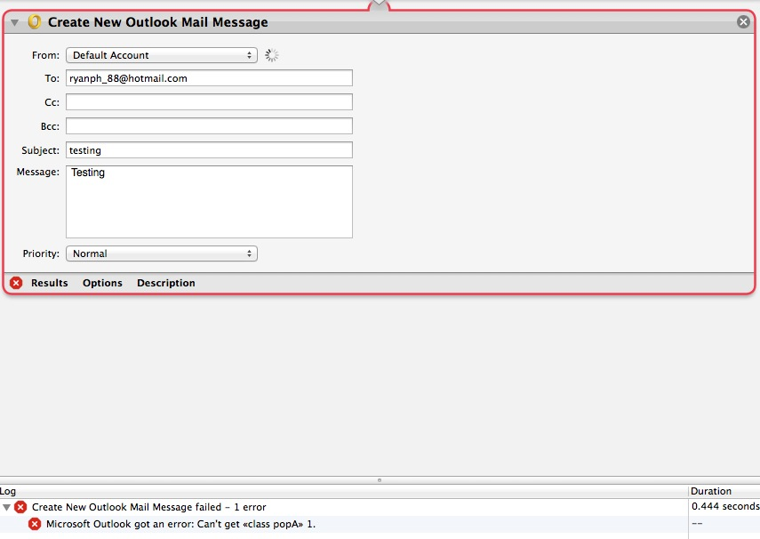 Using OSX Mac Automator - New Service - Create Outlook Attachment
