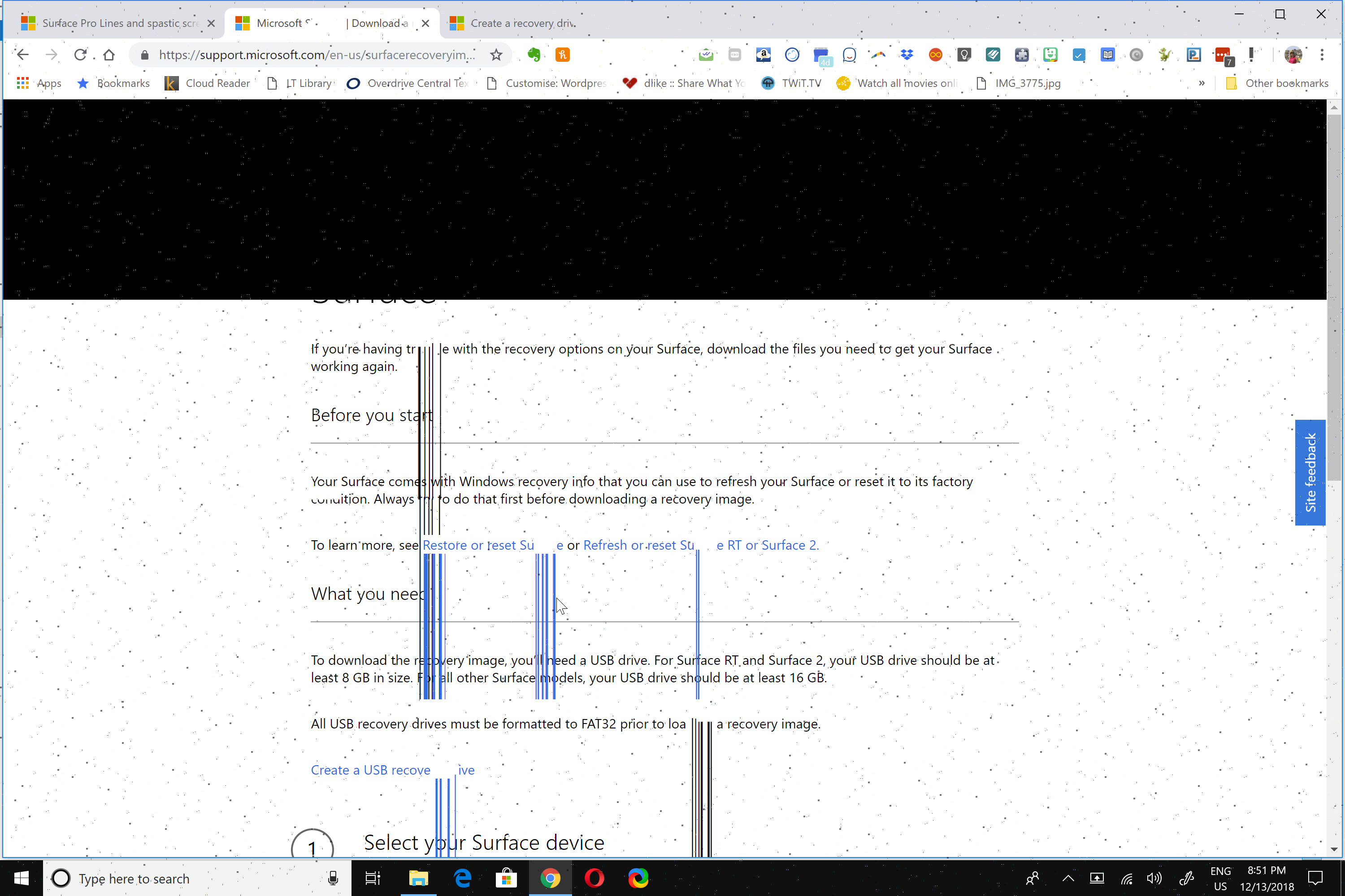 Surface Book Screen flicker, vertical lines, white dots     the