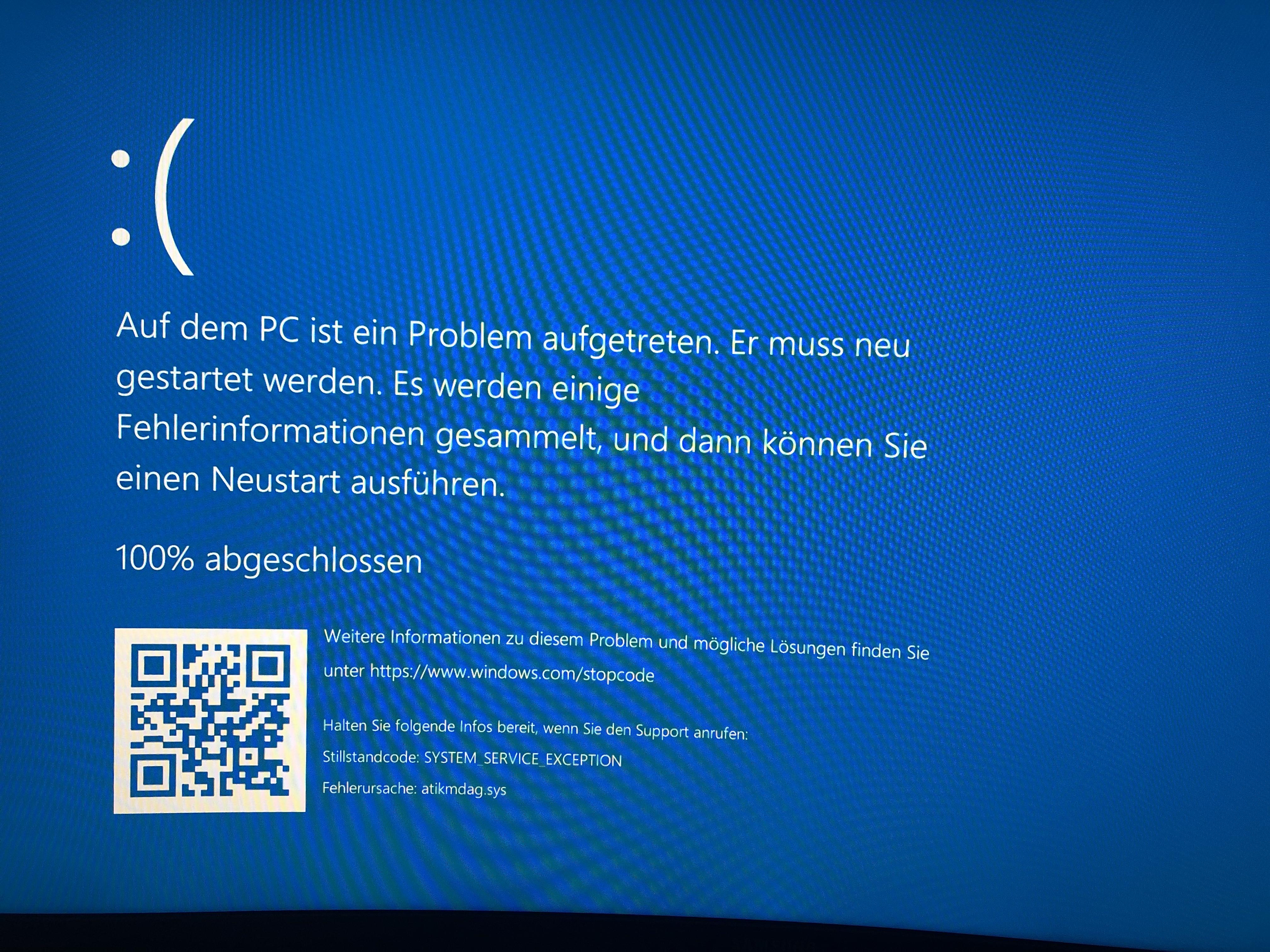 BlueScreen Fehlermeldung nach nur wenigen Sekunden
