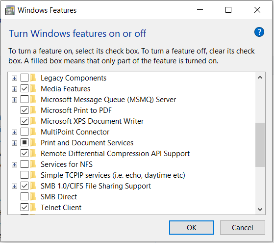 one or more protocol missing windows 10