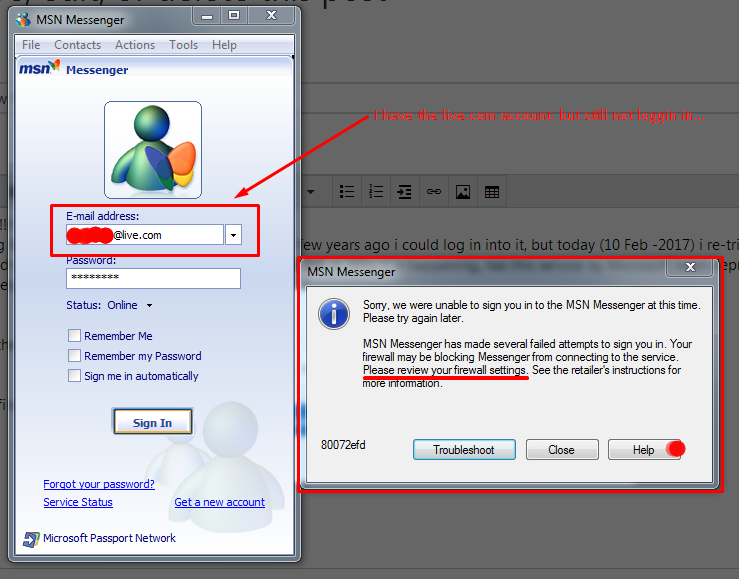 Window MSN messanger login problem - Microsoft Community