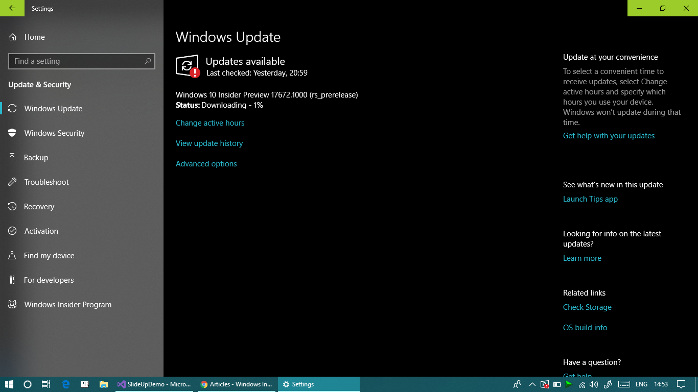 Windows 10 Insider Preview 17672 1000 (rs_prerelease) - Microsoft