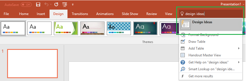 copen a presentation in powerpoint online and check if you can use design ideas - Powerpoint Design Ideas