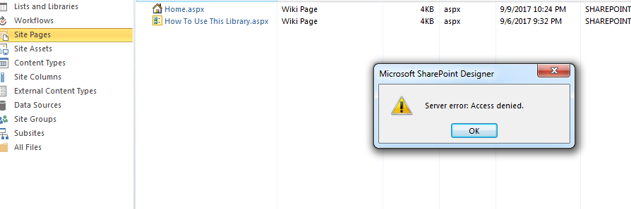 i am getting server error access denied error while microsoft