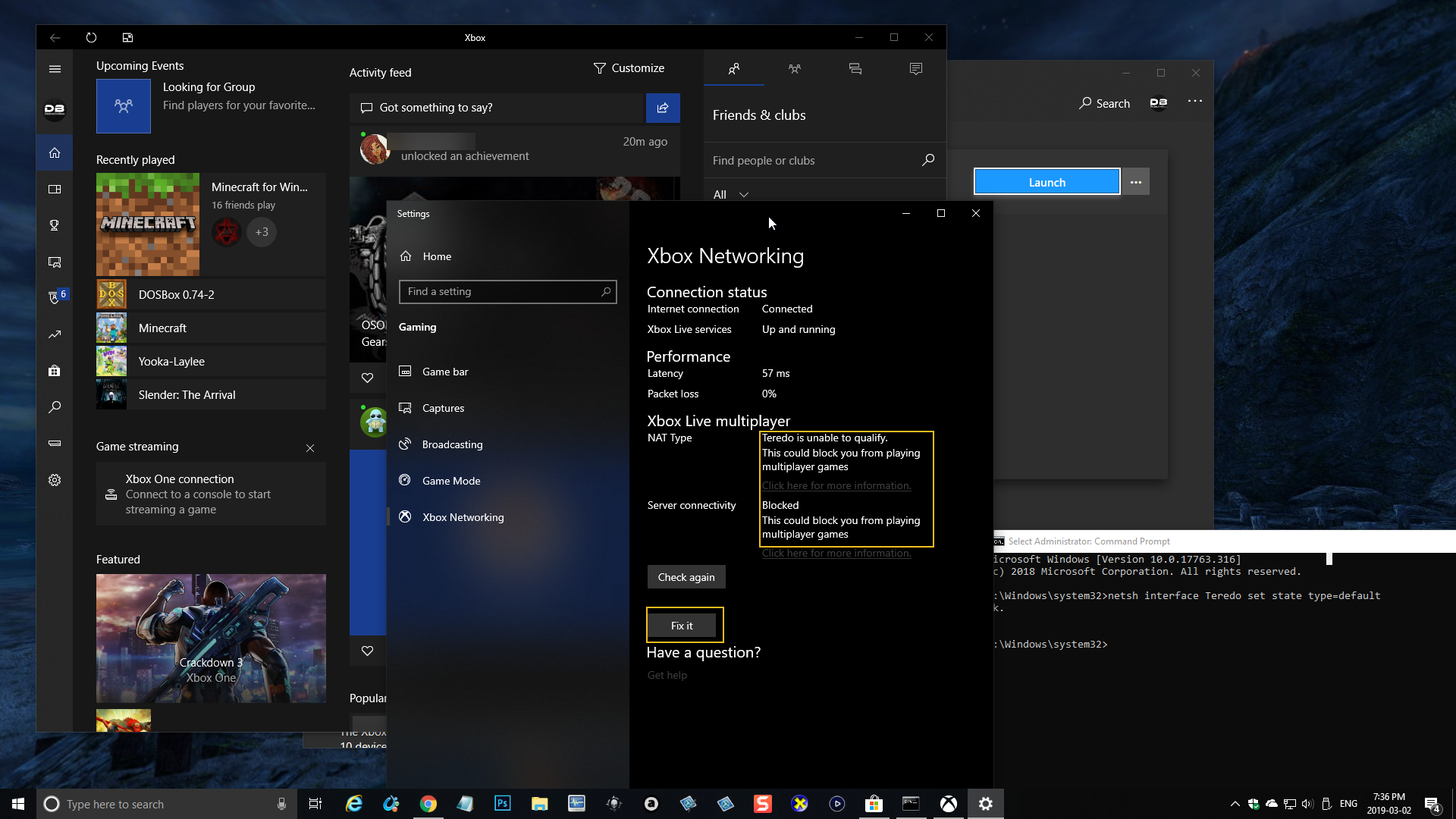 NAT type: Moderate and Server connectivity is Blocked in Xbox App