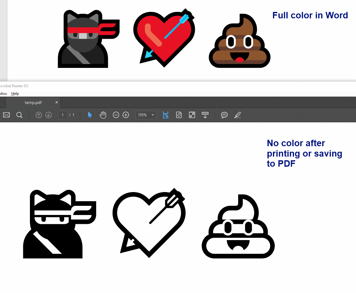 How do I keep emoji colors when printing them from Word