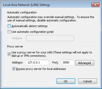 LAN Connection settings keep changing back to proxy server