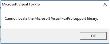 Cannot find Microsoft Visual FoxPro support library