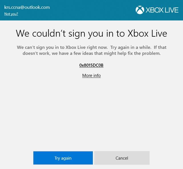 xbox live on windows 10 login problem