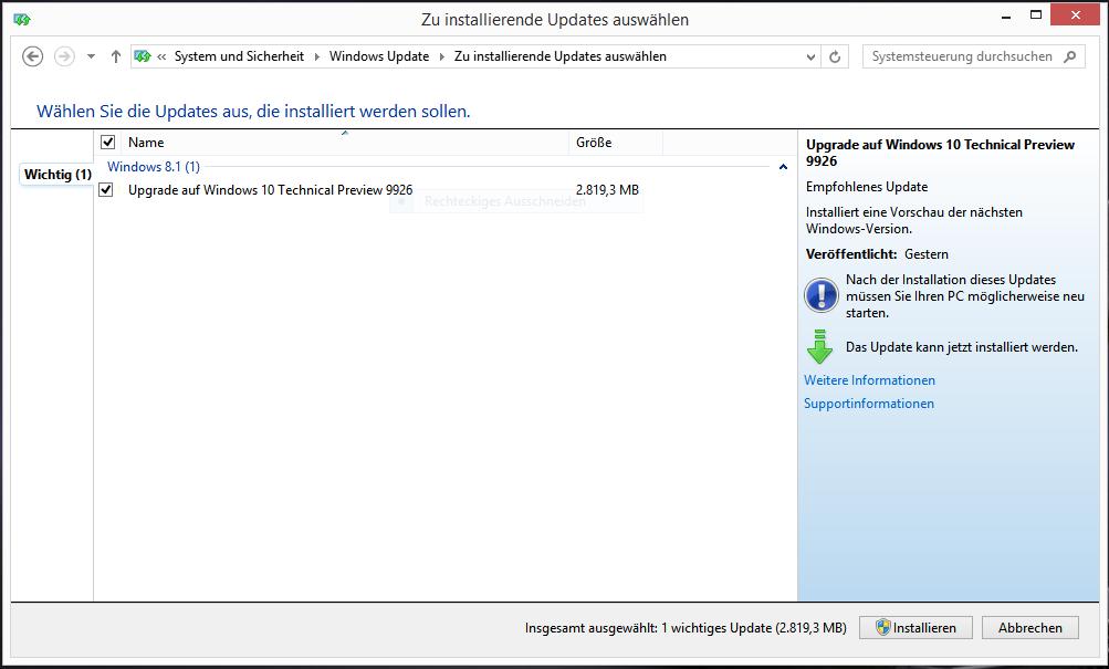 Update von Windows 8.1 auf 10 Tech Preview schlägt fehl ohne Fehlermeldung