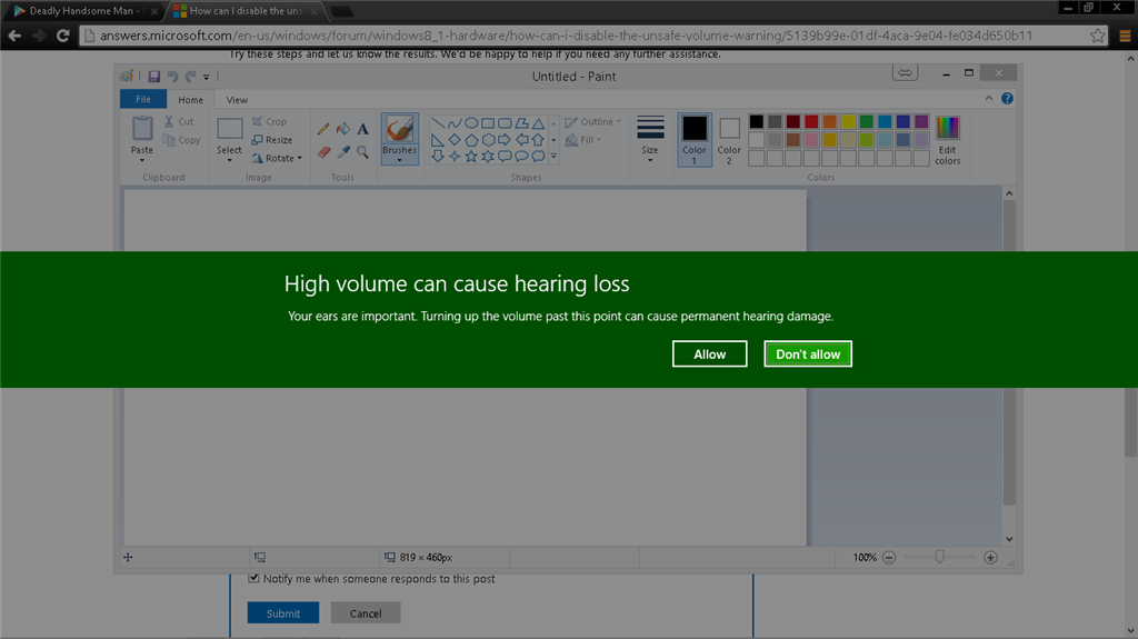 How can I disable the unsafe volume warning? - Microsoft