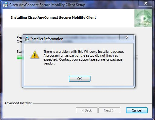 Anyconnect Installer Package Error