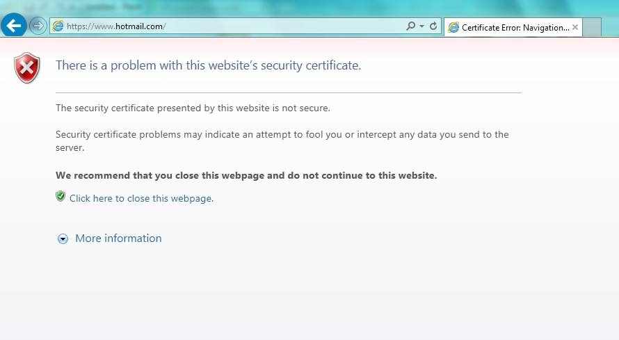 Problem with Website Security Certificate Internet Explorer 11 ...