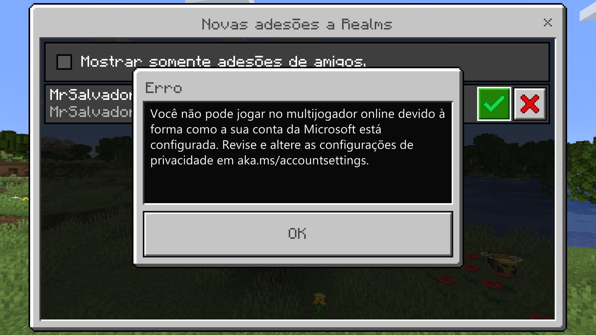 Não consigo entrar em um Realms no Minecraft[Translation-I