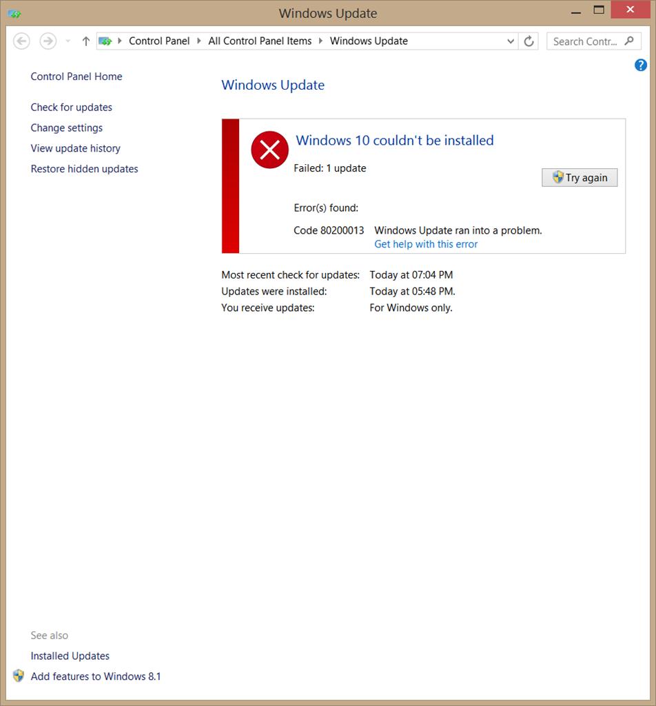 Error During Downloading Windows 10 Update  Error 80200013