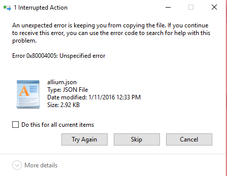 Error 0x80004005 when extracting files  - Microsoft Community