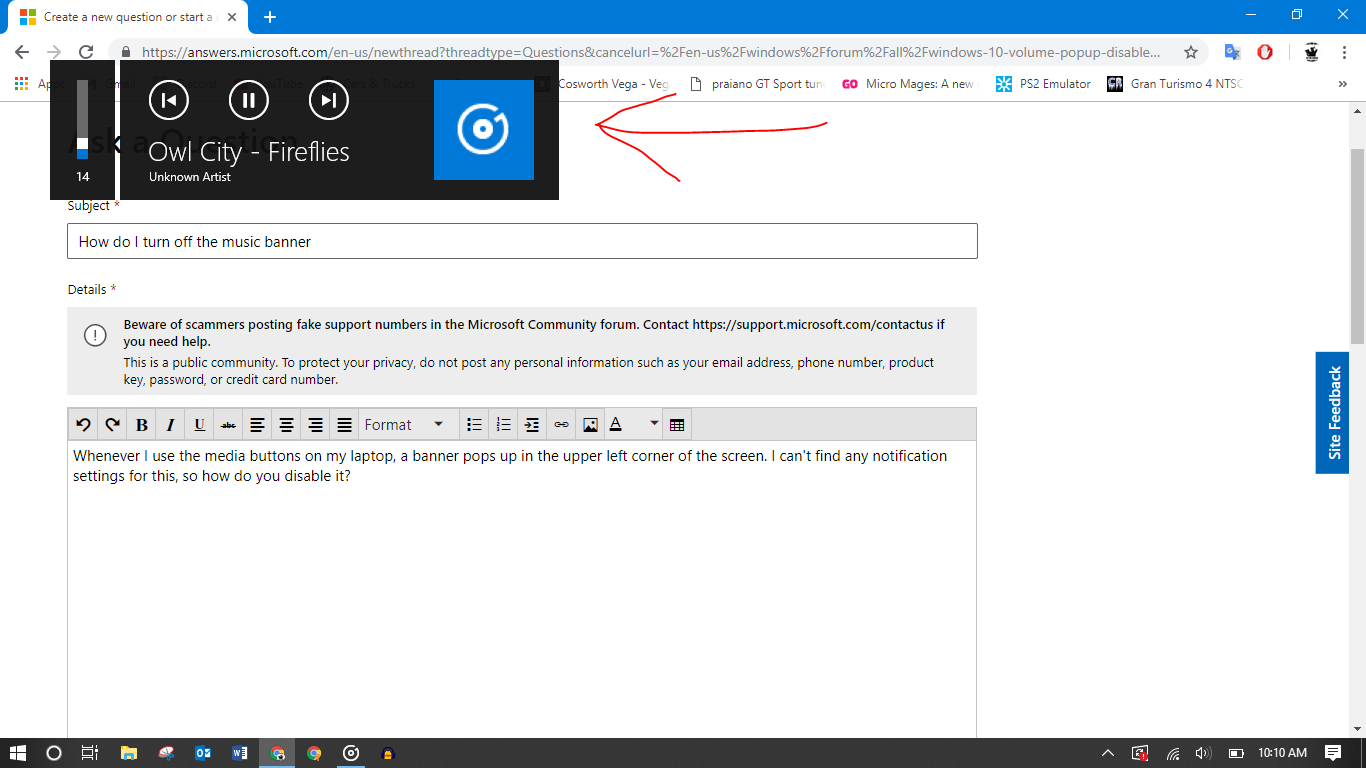 How do I turn off the Pop-Up Music Banner? - Microsoft Community