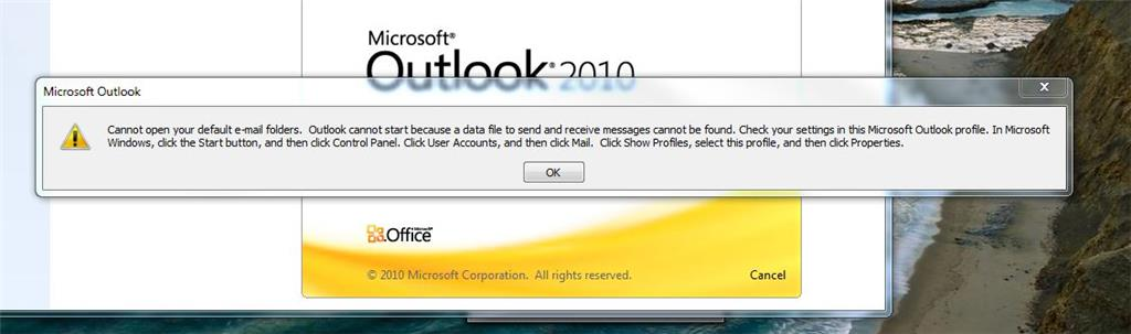 Cannot Open your Default email folders  Outlook cannot start