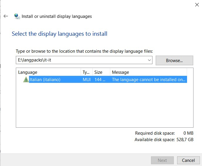 Problems in installing a language pack in Windows 10
