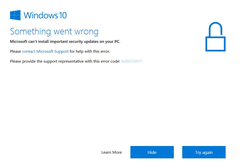 Error 0x8007001f while updating Windows 10 - Microsoft Community