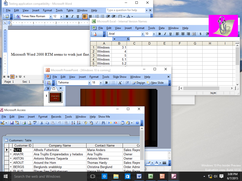 Windows XP SP2 + Microsoft Office 2003 64 Bit