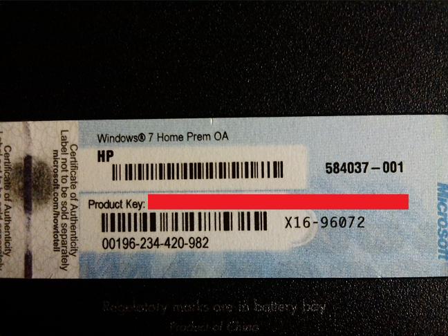 hp laptop windows product key