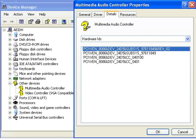 driver controleur audio multimedia window xp
