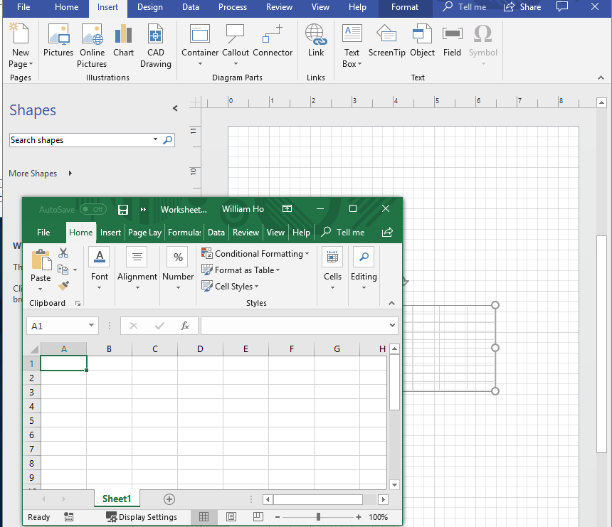 Visio 2016 - Resizing an embedded Excel 2016 object issue