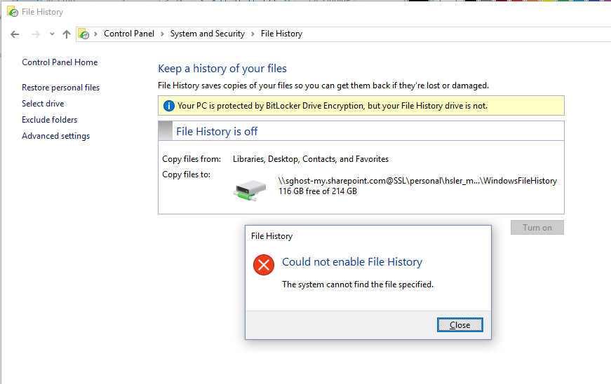 How to use File History to backup to webdav? - Microsoft