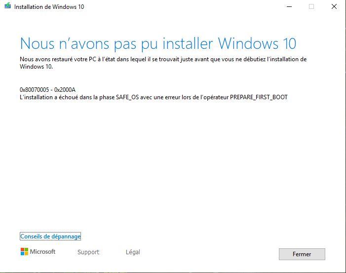 MISE A JOUR WINDOWS 10 1903 ERREUR 0X80070005-0X2000A - Microsoft