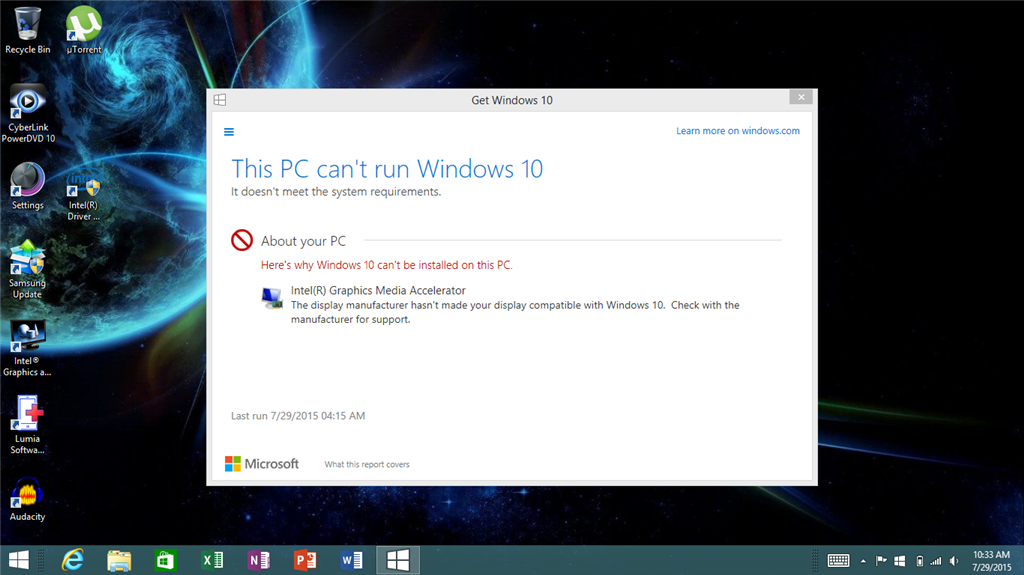 This PC can\u0027t run Windows 10 message due to an Intel(R) - Microsoft
