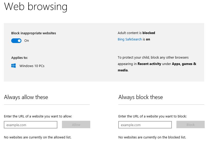 How do I block all websites except those I explicitly