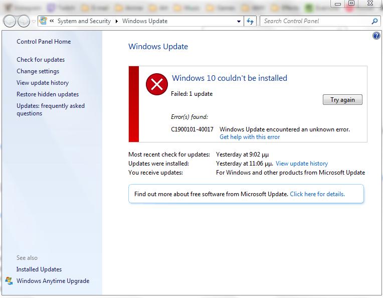 Windows update error 80004004-40019