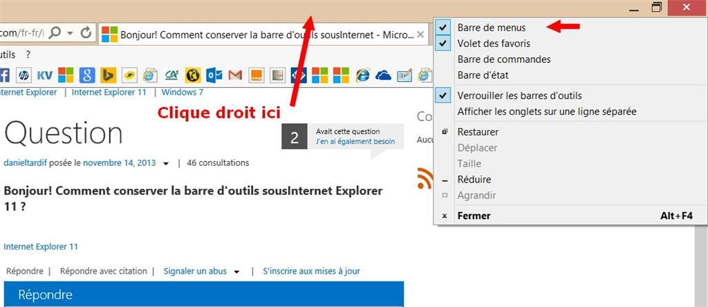 affichage barre d outils internet