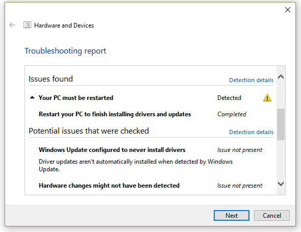 Windows 10 Device Performance and Health incorrectly