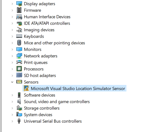 microsoft visual studio location simulator sensor has a driver problem