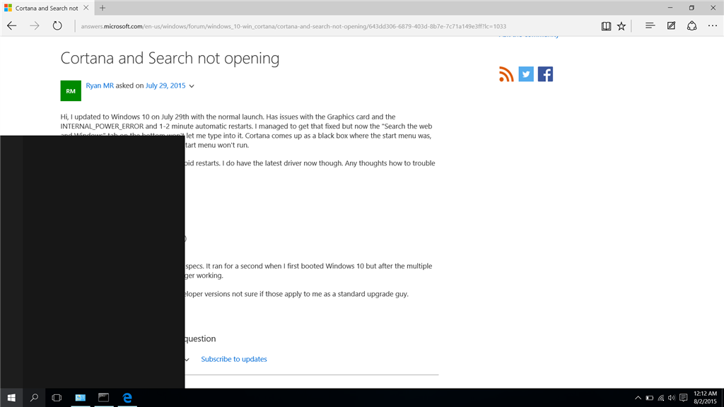 search the web and windows box not working windows 10