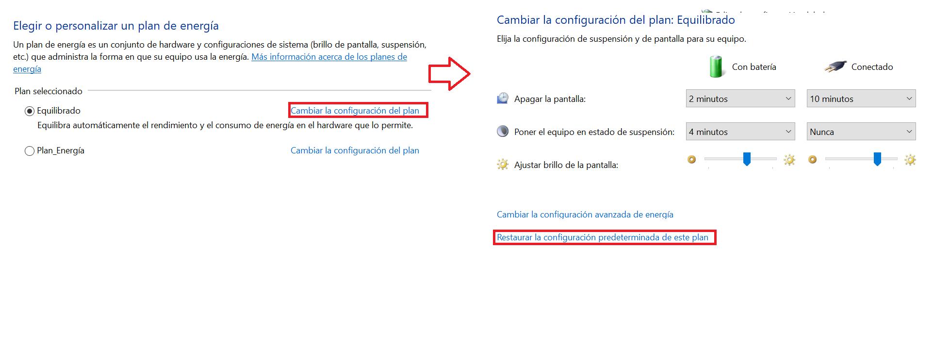 Configurando el plan de energía en Windows.
