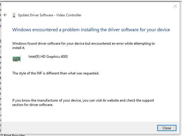 Cannot install intel Graphics HD 4000 Driver Windows 10 - Microsoft