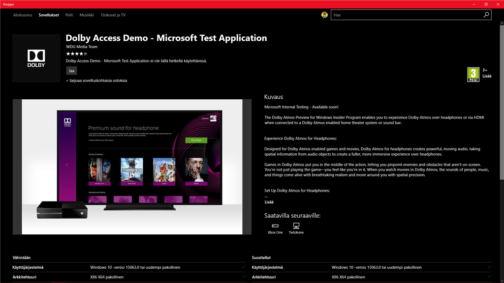 Dolby Access Demo - Microsoft Test Application app - Microsoft Community
