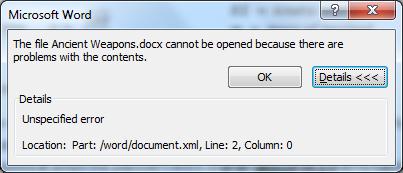 help unspecified error word document xml line 2 microsoft